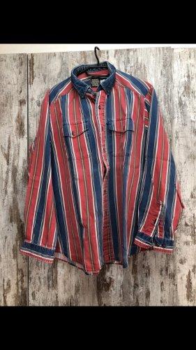 Jeansowa koszula czerwony-niebieski