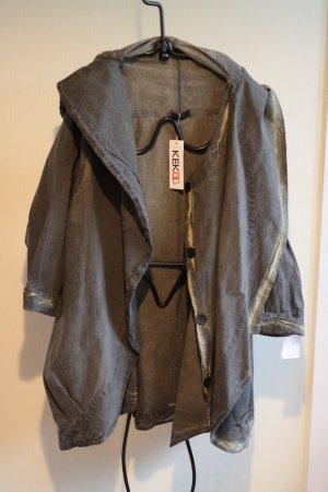 Kekoo Płaszcz oversize zielono-szary Tkanina z mieszanych włókien