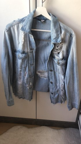 Oversize Jeans-Jacke mit Löcher