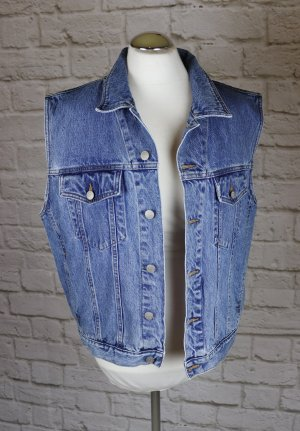 Gilet en jean bleu acier-bleuet coton