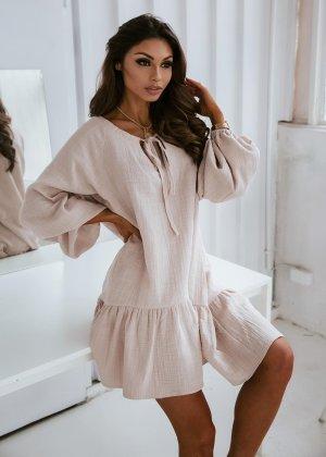 Sukienka typu babydoll jasnobeżowy
