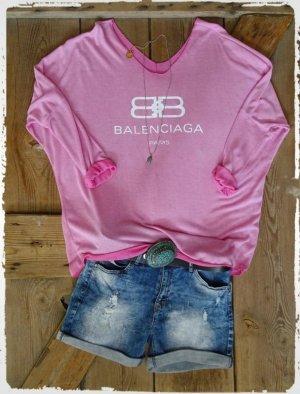 Camisa holgada blanco-rosa