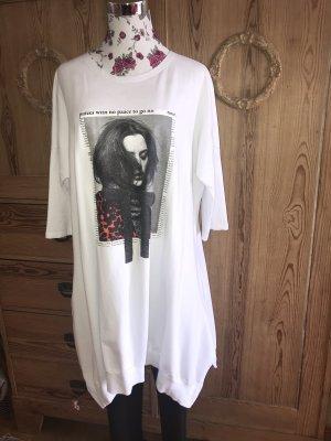 Oversize Long Sweatshirt-Kleid * weiß mit Print * Gr. 38/40 *wie neu