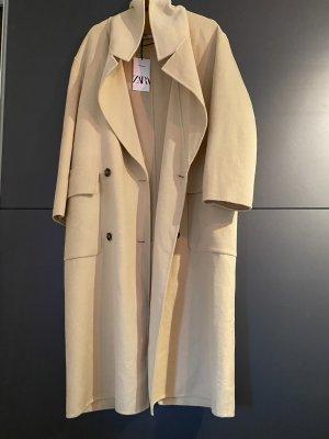 Zara Abrigo ancho amarillo claro-crema