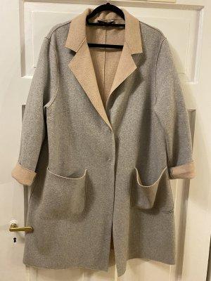 Oversize Mantel im Jersey Look aus Wollgemisch