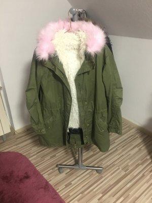 Oversize Parka mit rosa XL Fell Kapuze & Teddyfell Winter Faux Fur Blogger