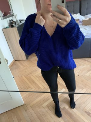 Boohoo Coarse Knitted Sweater blue