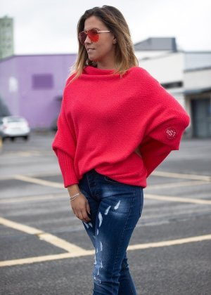 Bastet Sweter oversize jasnoczerwony-ceglasty