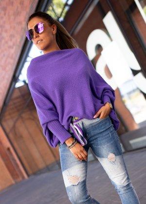 Sweter oversize niebiesko-fioletowy