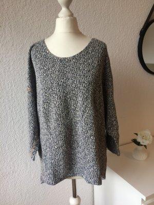 Oversize Pullover | Blau Weiß meliert