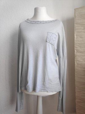 Oversize Pullover longsleeve hellgrau blau Größe 44
