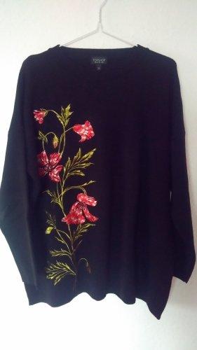Oversize Pullover Topshop neu schwarz mit Blumenstickerei Gr. 40