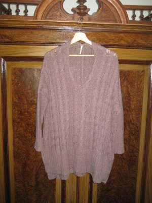 Free People Cable Sweater grey brown-brown violet cotton