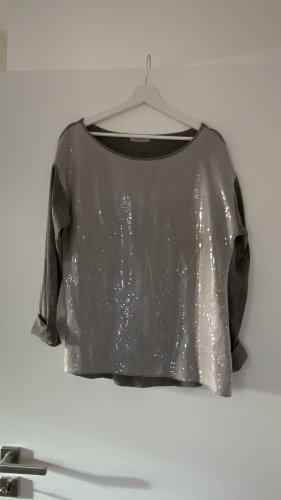 Oversize Rundhalz Pailletten Pullover