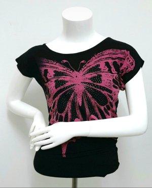 Oversize Shirt Bodyflirt  Gr. 32/34 print top Schwarz Pink