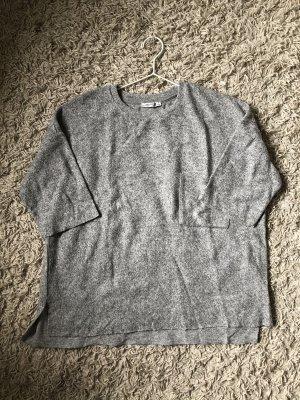 Oversize Shirt in meliertem Hellgrau