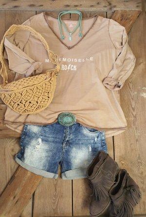 Koszulka oversize szaro-brązowy Bawełna