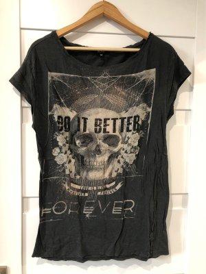 Oversize Shirt Totenkopf Glitzer