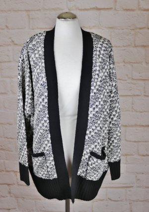Cardigan a maglia grossa nero-bianco sporco