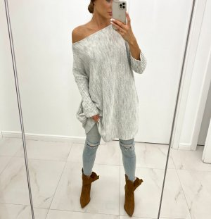 Oversize Strickkleid Stiefelkleid Long Pullover Strickpullover Blogger Pulli Jumper Einteiler Off Shoulder NEU S M L XL