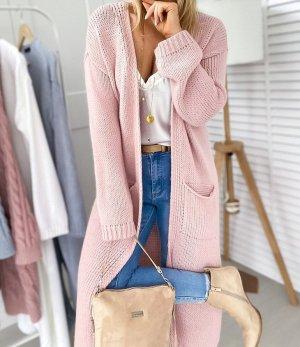 Manteau en tricot or rose