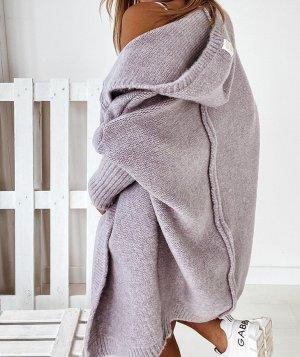 Manteau en tricot mauve-gris lilas