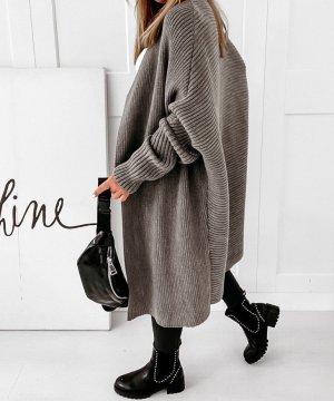 Abrigo de punto gris antracita