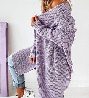 Manteau en tricot mauve-lilas