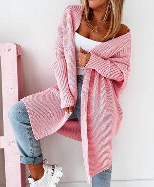 Manteau en tricot rose-or rose