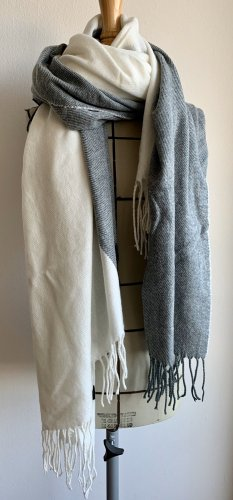 Asos Fringed Scarf natural white-pale blue