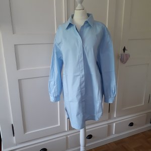 Oversized Bluse long leichte Ballon-Ärmel hellblau Gr. S/M