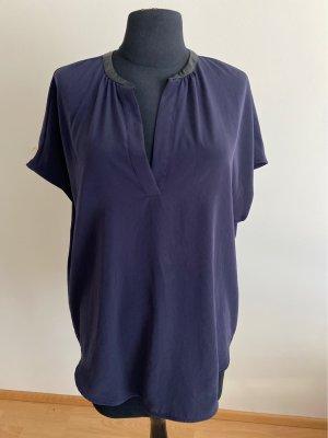 Oversized Bluse mit Leder Kragen