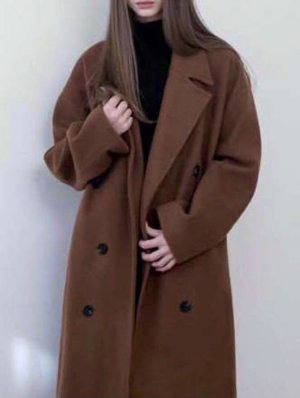 Korean Fashion Cappotto taglie forti marrone scuro