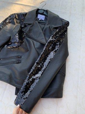 Oversized Faux-Leder Jacke mit Pailletten-Applikationen von NA-KD