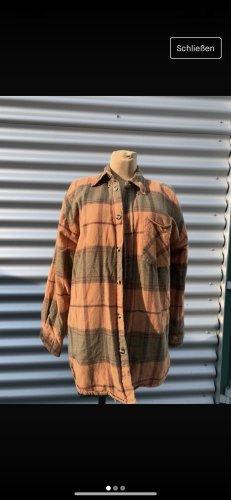 Oversized Hemd Jacke Holzfäller orange grün Vintage gr L