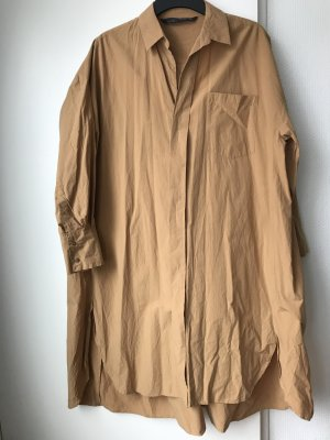 Zara Vestido tipo blusón beige-camel Algodón