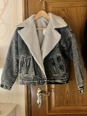 Oversized Jacke acid wash faux shearling
