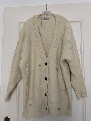 Zara Knit Giacca taglie forti beige chiaro Nylon