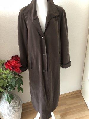 Vintage Długi płaszcz ciemnobrązowy-czarno-brązowy