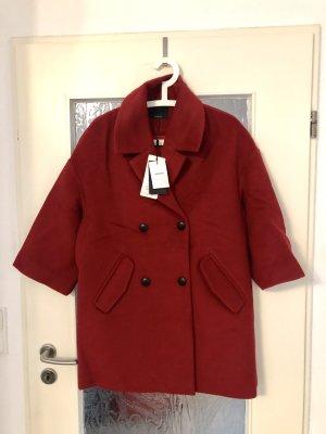 Wełniany płaszcz głęboka czerwień