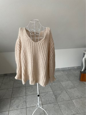 Selected Touch Coarse Knitted Sweater natural white-light pink