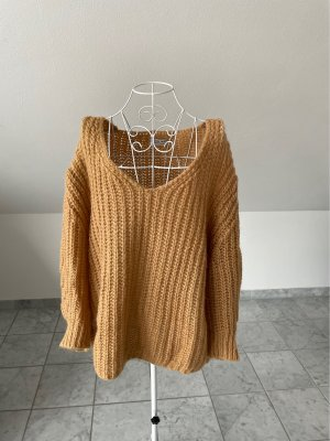Selected Touch Coarse Knitted Sweater beige-gold orange