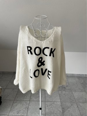 Coarse Knitted Sweater natural white-black