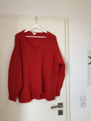 Oversized Pullover mit V-Ausschnitt Rot