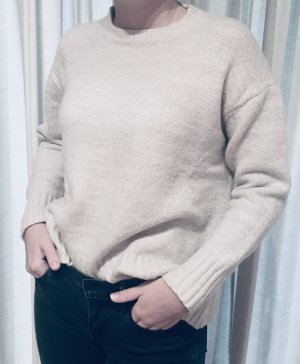Zara Knit Oversized Sweater natural white-light grey
