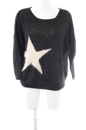 Miss charm Oversized Pullover schwarz-silberfarben Motivdruck Casual-Look