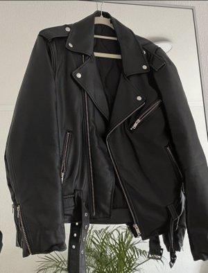 Oversized Reclaimed Vintage- Inspired - Unisex Lederjacke / Bikerjacke aus Kunstleder