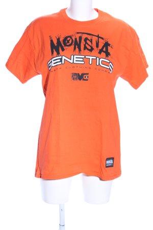 Camicia oversize arancione chiaro Stampa a tema stile casual