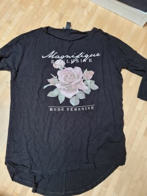 Amisu Camicia oversize nero-rosa chiaro
