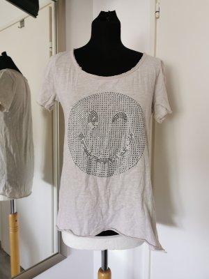 Oversized Shirt mit Smily One Size Hellbeige Nieten